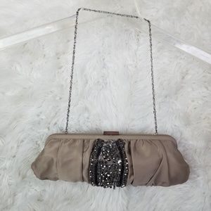 Satin and Beaded Clutch Silver Chain